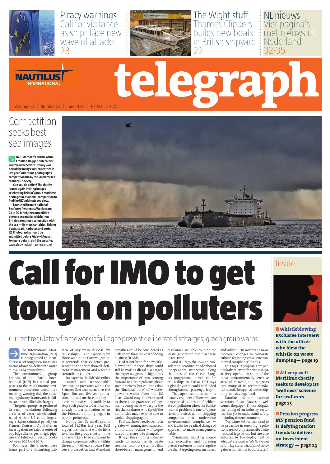 baa705eb2f087c Nautilus Telegraph June 2017. Call for IMO to get tough on polluters