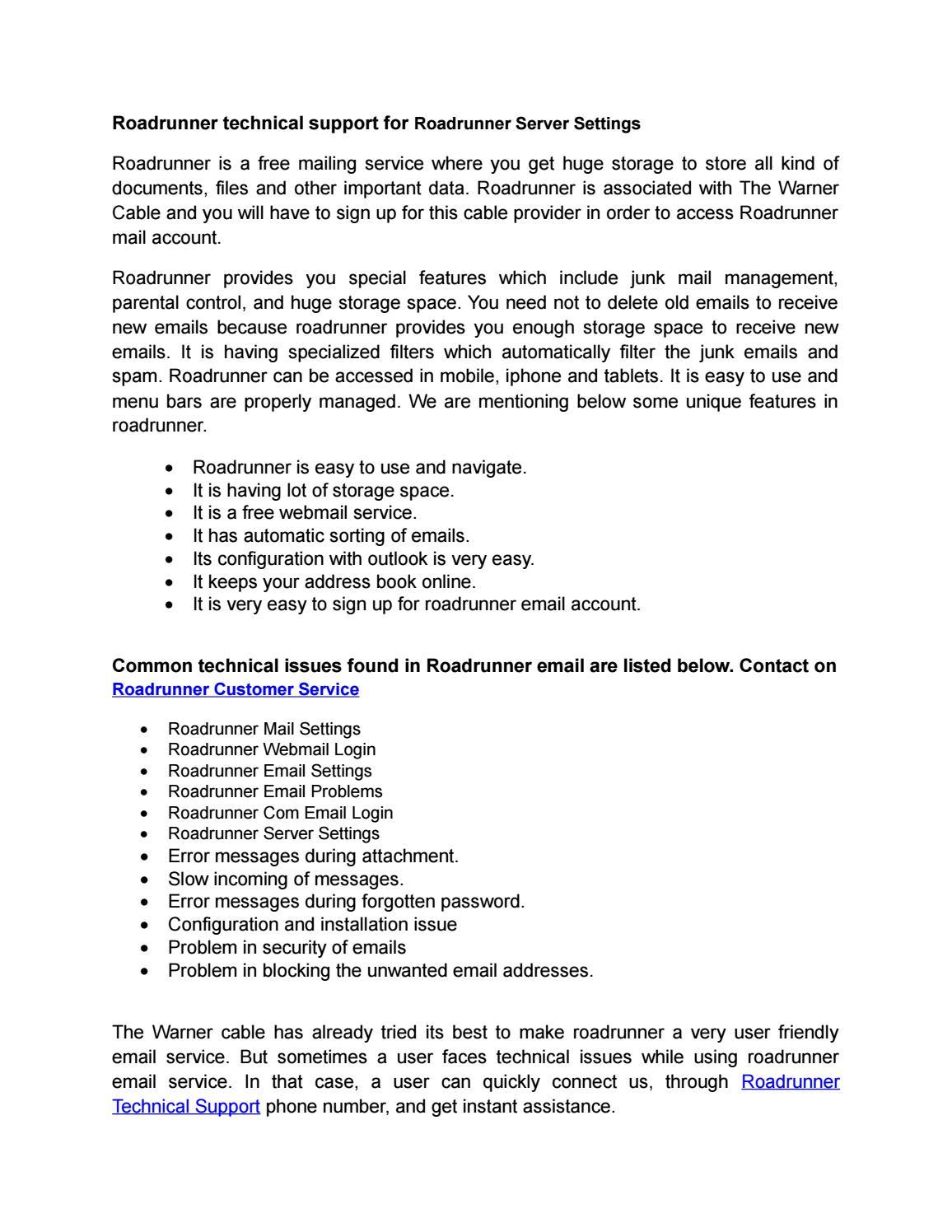 Road runner email sign in - Roadrunner Technical Support For Roadrunner Server Settings By Mike Issuu