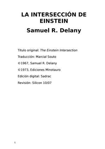 Delany samuel r la interseccion de einstein by Ricardo Sendra Sáez ...