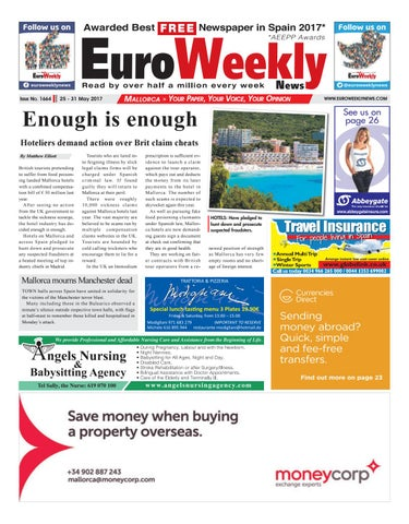 Euro weekly news mallorca 25 31 may 2017 issue 1664 by euro page 1 fandeluxe Images