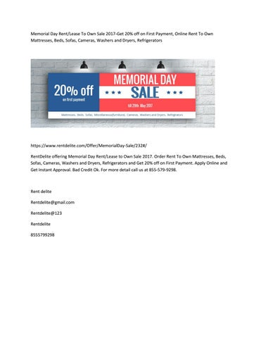 Rent To Own Washer And Dryer >> Memorial Day Rent Lease To Own Sale 2017 Get 20 Off On