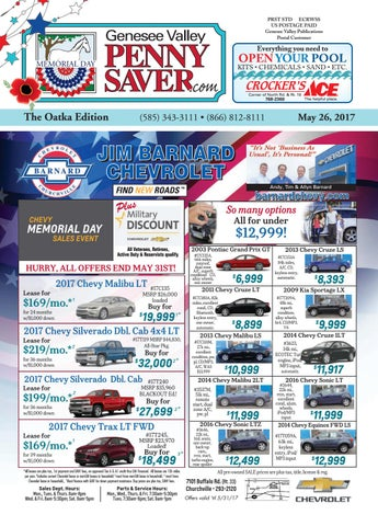 The Genesee Valley Penny Saver Oatka Edition 5/26/17