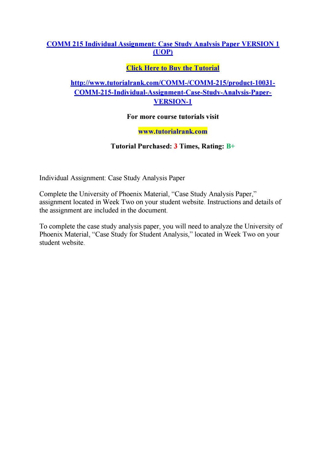 Comm 215 individual assignmen case study analysis paper version 1