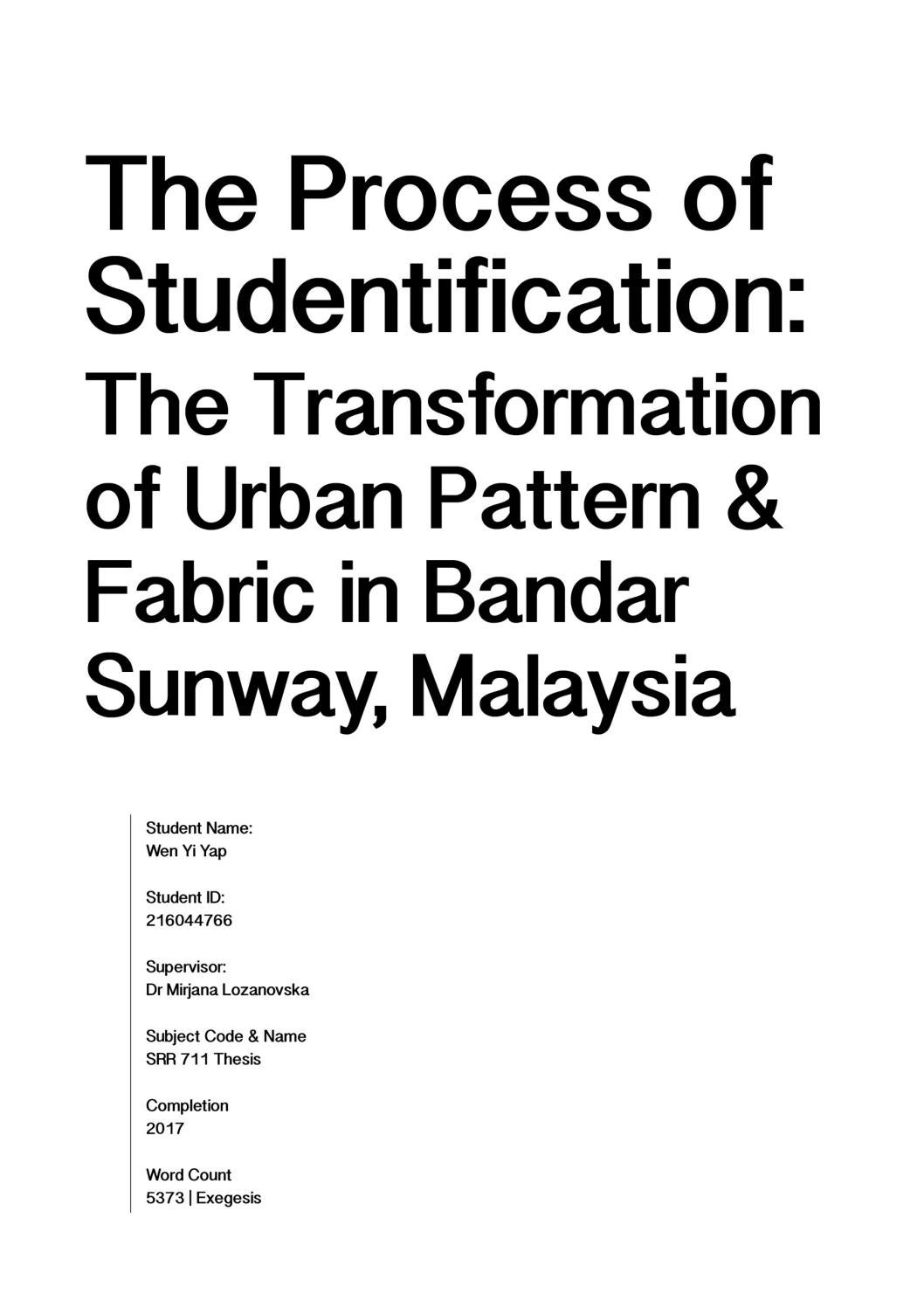 Dissertation studentification