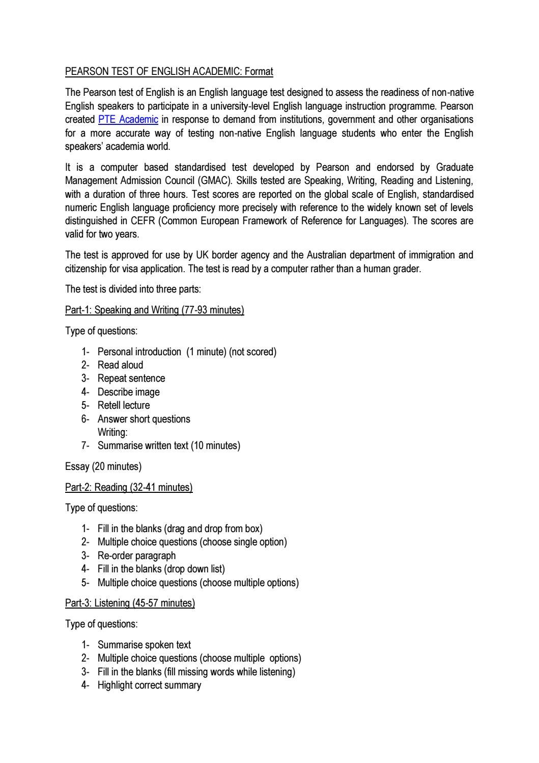 Format of Person Test of English (Academic) Format by ieltsguru - issuu