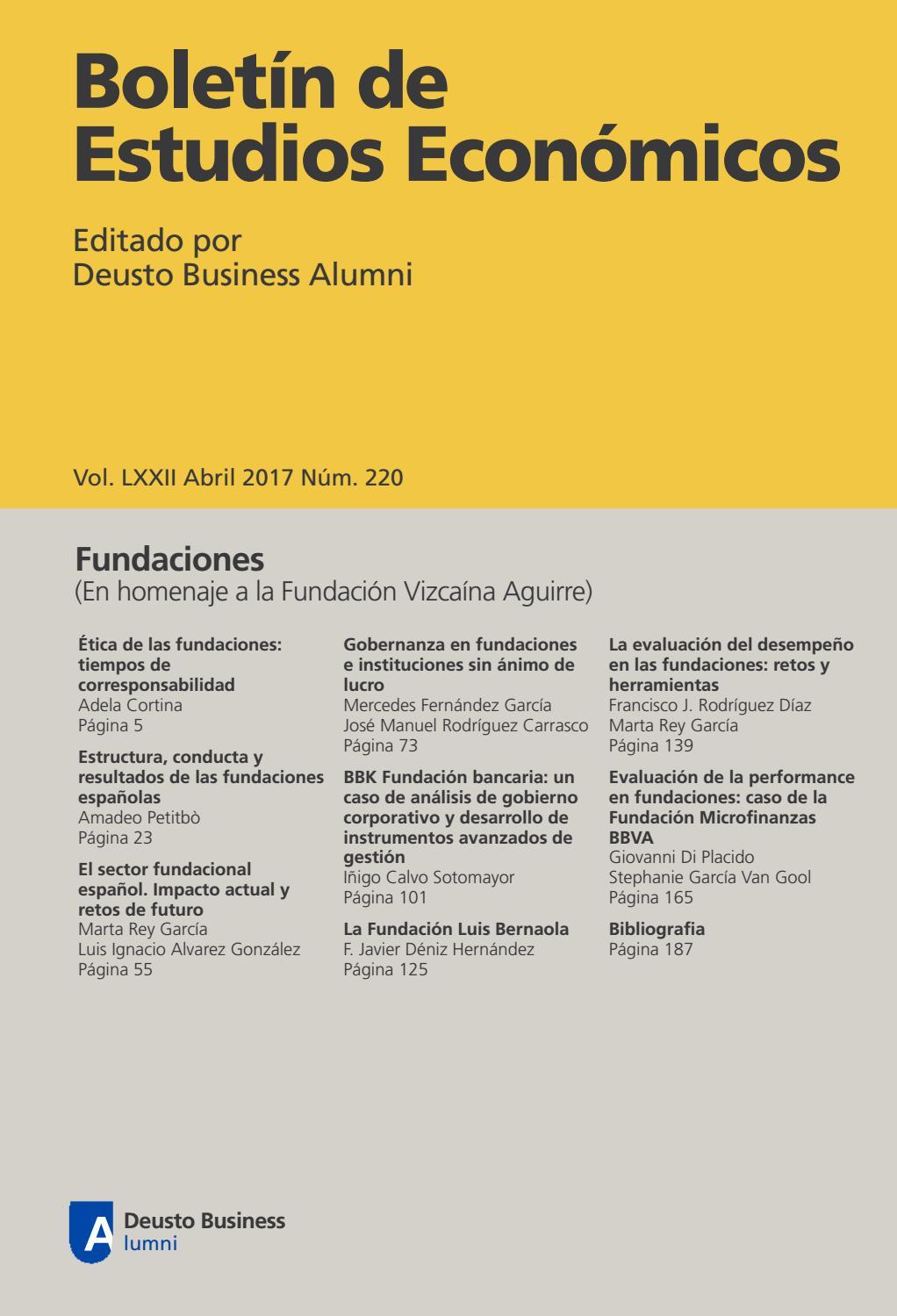 Boletín de Estudios Económicos. Abril 2017. Num. 220 by Deusto ...