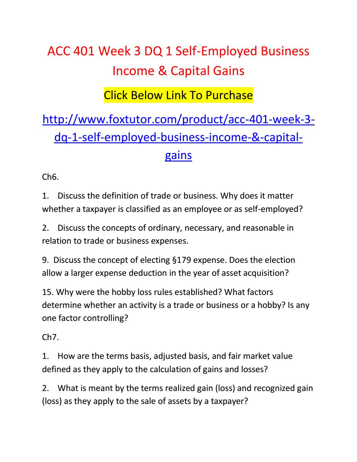 acc 401 week 3 dq 1 self employed business income & capital gains by