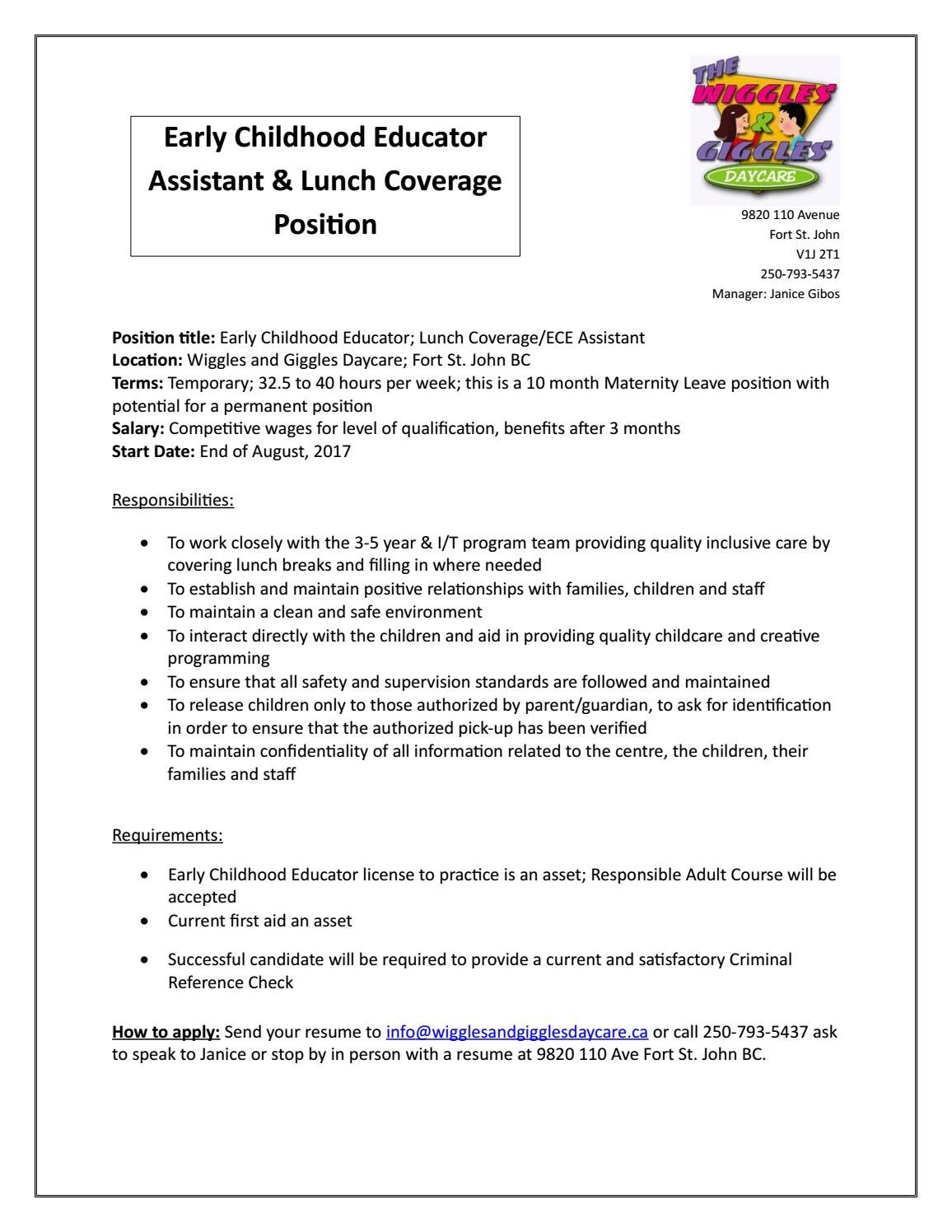 ECE Assistant and Lunch Coverage Job Posting by Janice Lynne Gibos ...