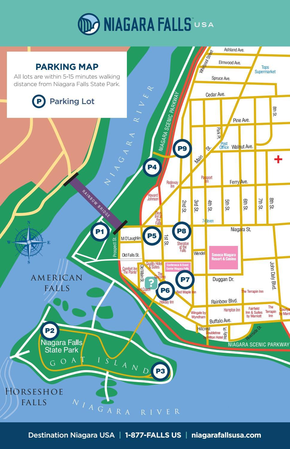 Downtown Niagara Falls USA Parking Map by Destination Niagara USA
