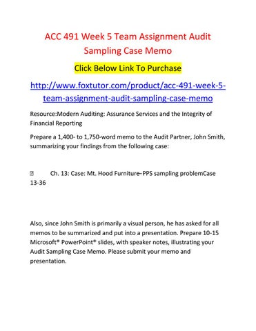 Acc  Week  Team Assignment Audit Sampling Case Memo By AccFt