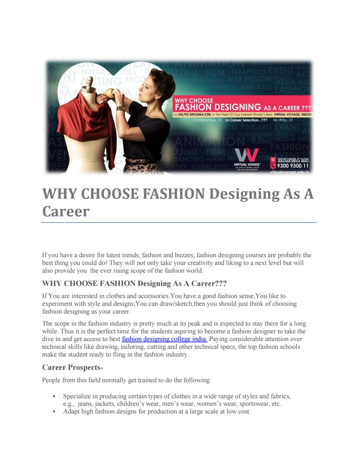 Why Choose Fashion Designing As A Career By Taher Virtual Issuu