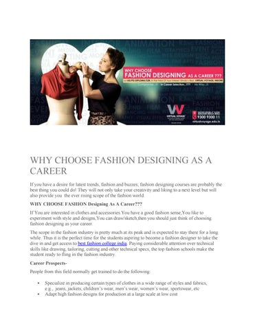 Why Choose Fashion Designing As A Career By Aditiv2 Issuu