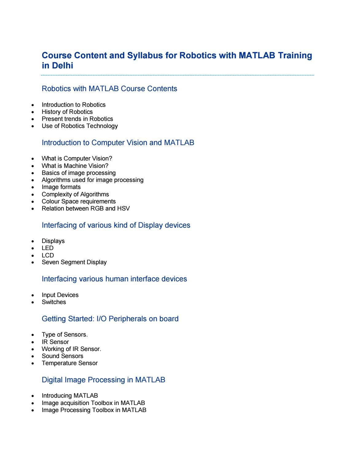 Course Content and Syllabus for Robotics with Matlab