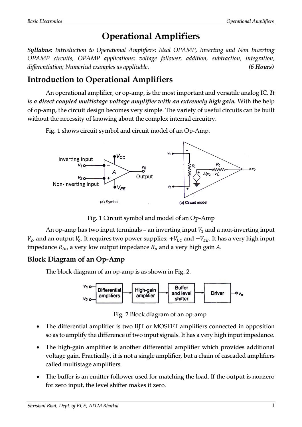 Basic Electronics Introduction To Operational Amplifiers Module 2 Voltage Follower Op Amp Circuit By Shrishail Bhat Issuu
