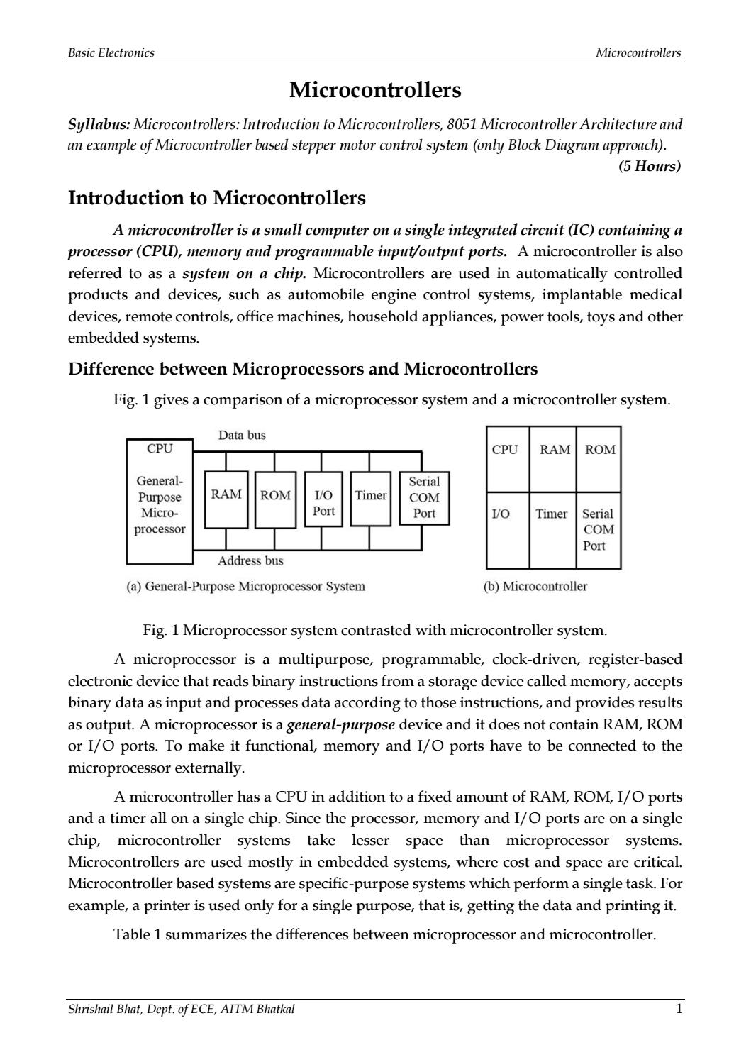 Basic Electronics Microcontrollers Module 4 By Shrishail Bhat 8 Bit Microcontroller Block Diagram Issuu