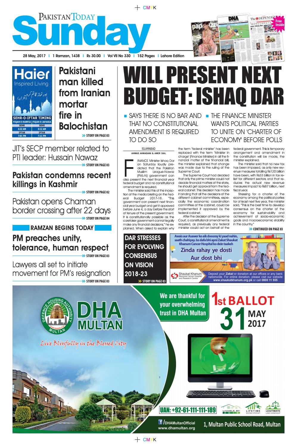 E paper pdf (28 05 2017) (lhr) by Pakistan Today - issuu