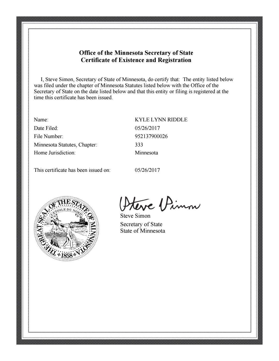 certificate assumed existence registration