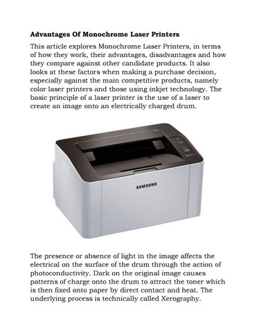 Advantages of monochrome laser printers by Deden Permana - issuu