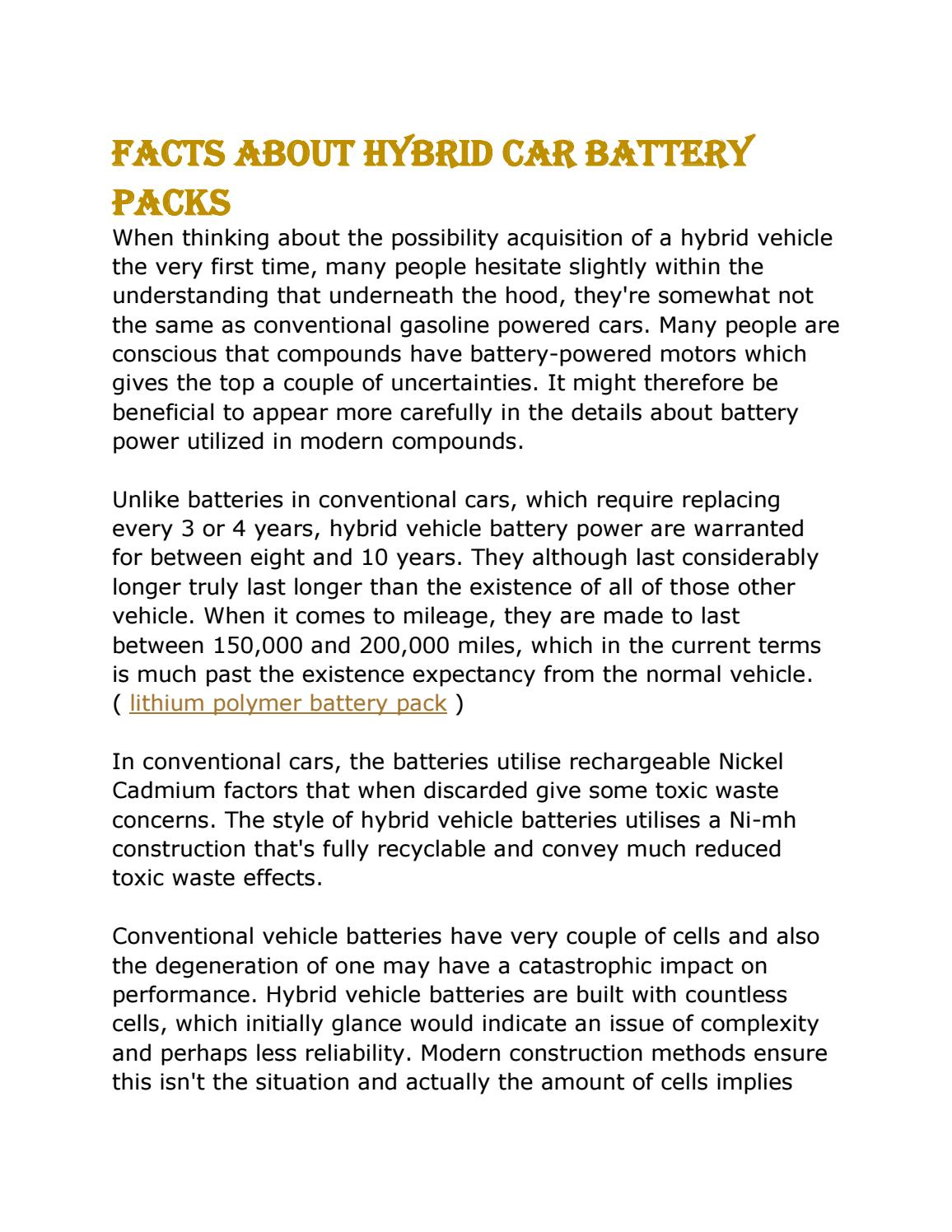 Facts About Hybrid Car Battery Packs