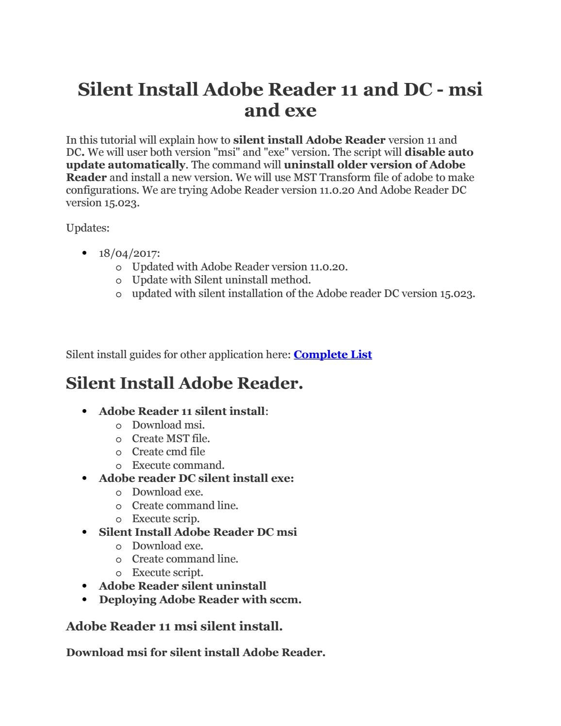 Adobe reader silent install by Get It Solutions - Issuu