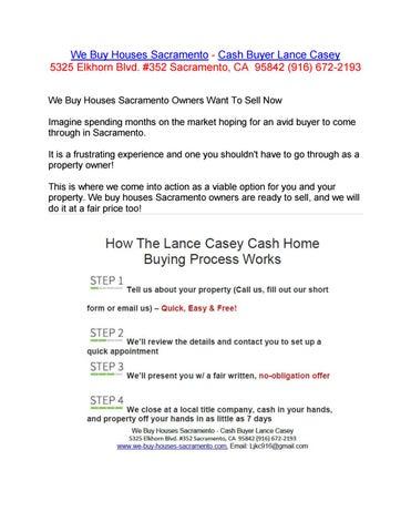 We Buy Houses Sacramento | Cash Buyer Lance Casey by We Buy