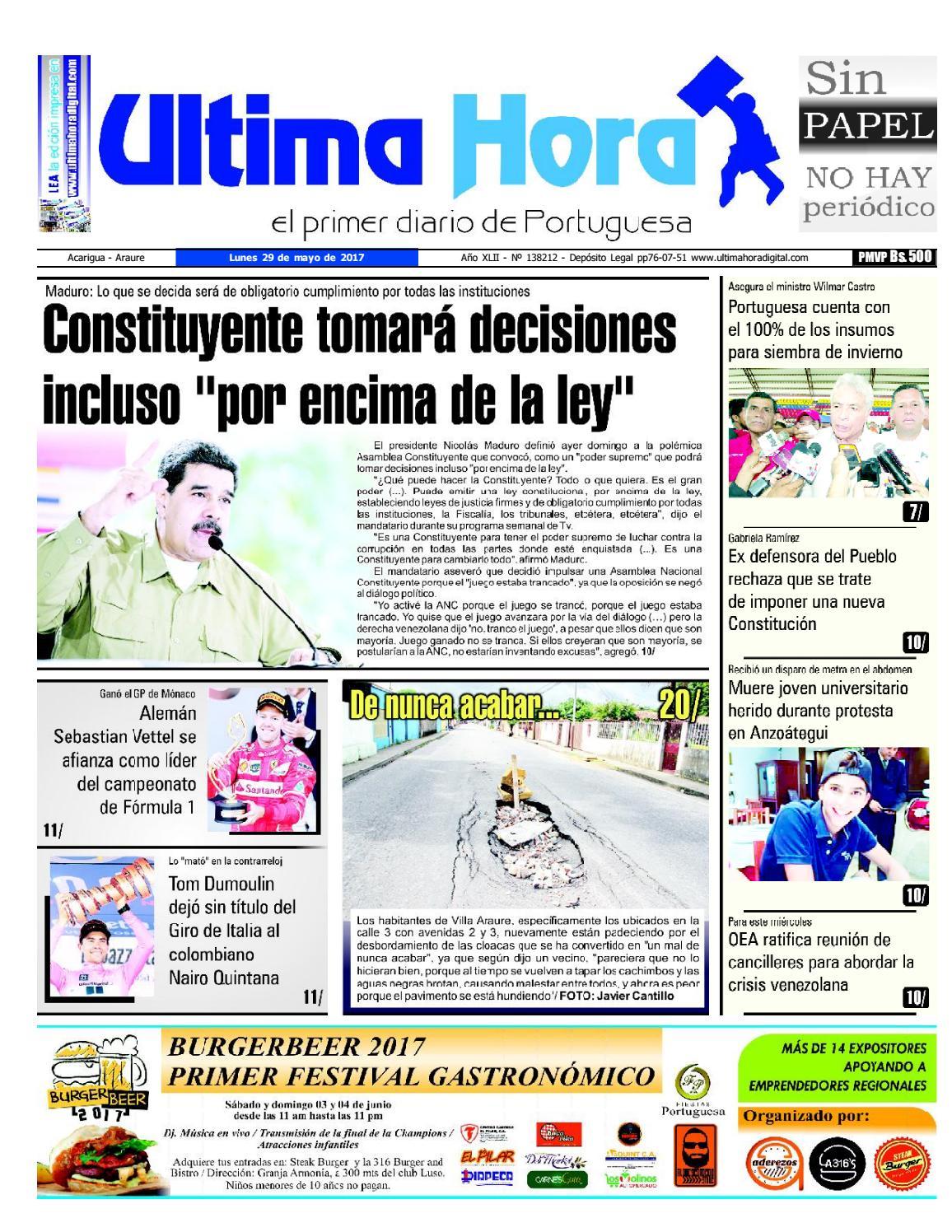 Edicion 29 05 2017 by Ultima Hora - El primer diario de Portuguesa ...