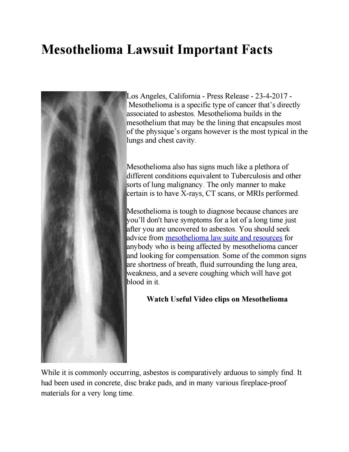 Mesothelioma lawsuit important facts by RyanEhresmanngkg ...