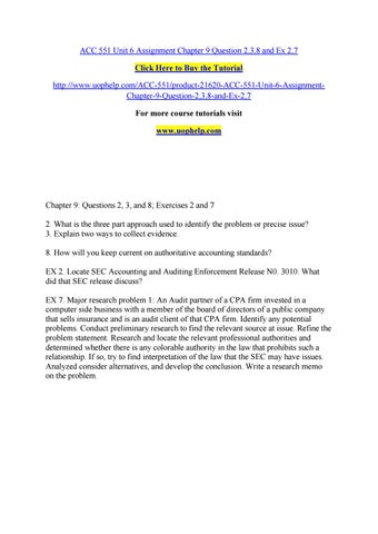 Acc 551 unit 6 assignment chapter 9 question 2,3,8 and ex 2,7 by