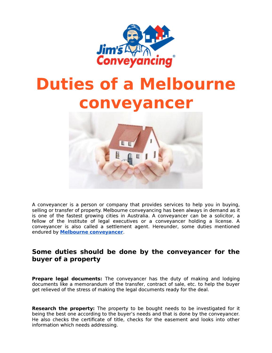 Melbourne conveyancer by jimsconveyancing - issuu