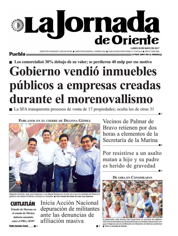 5569 La Jornada De Oriente Puebla 29 05 17 By La Jornada De  # Cota Muebles Teziutlan