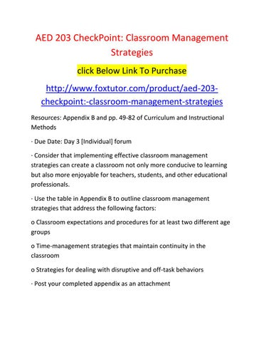 Aed 203 Checkpoint Classroom Management Strategies By Aed203ft Issuu