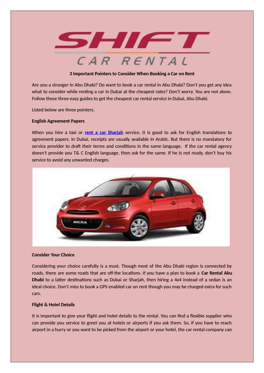 A Rental Car Agency Charges