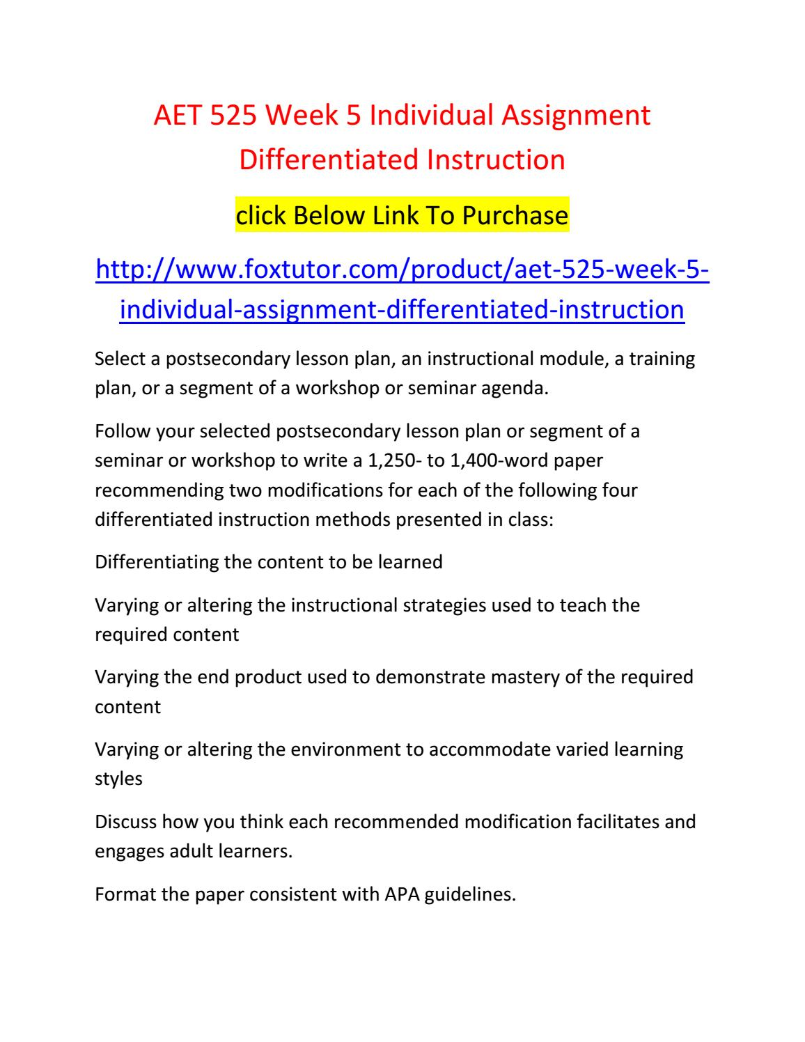 Aet 525 Week 5 Individual Assignment Differentiated Instruction By