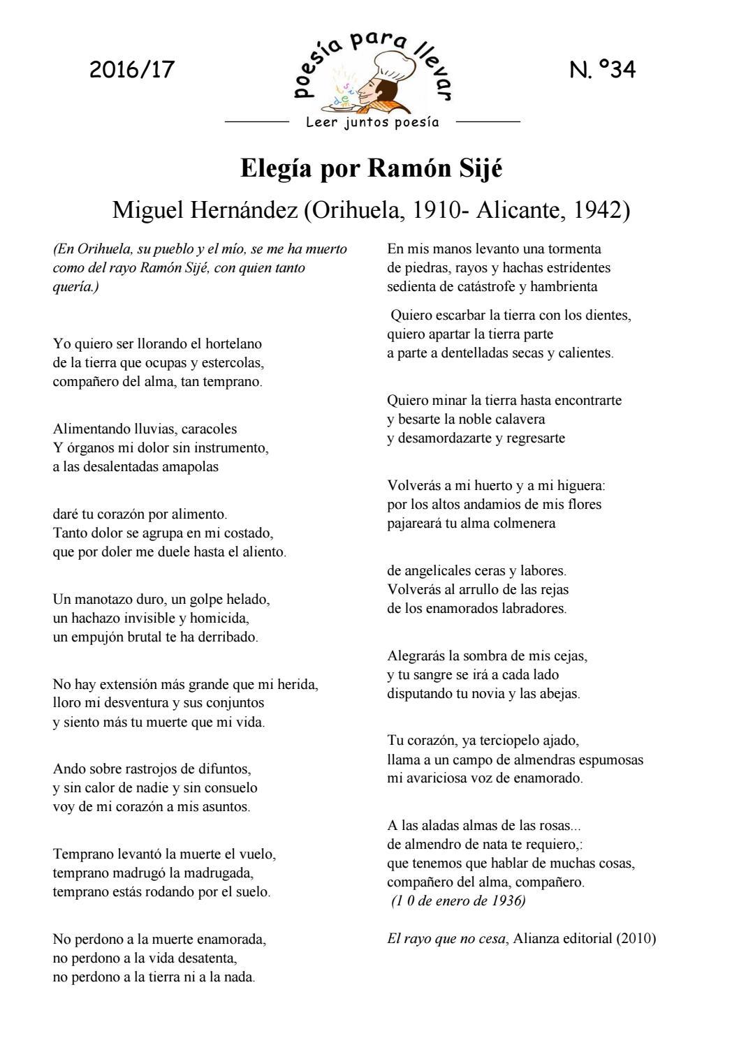Ppll16 17 Miguel Hernández 34 Elegía Por Ramón Sijé By Isabel Martin Issuu