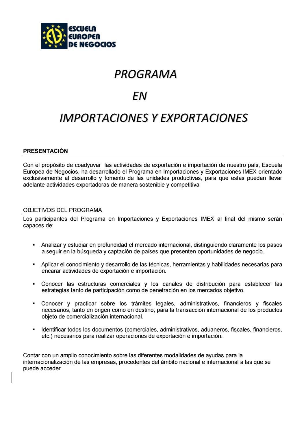 Programa de importaciones y exportaciones 2015 by vendelp - issuu