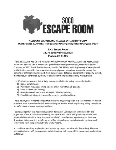 Accident Waiver  Release Of Liability Form  Soco Escape Room By