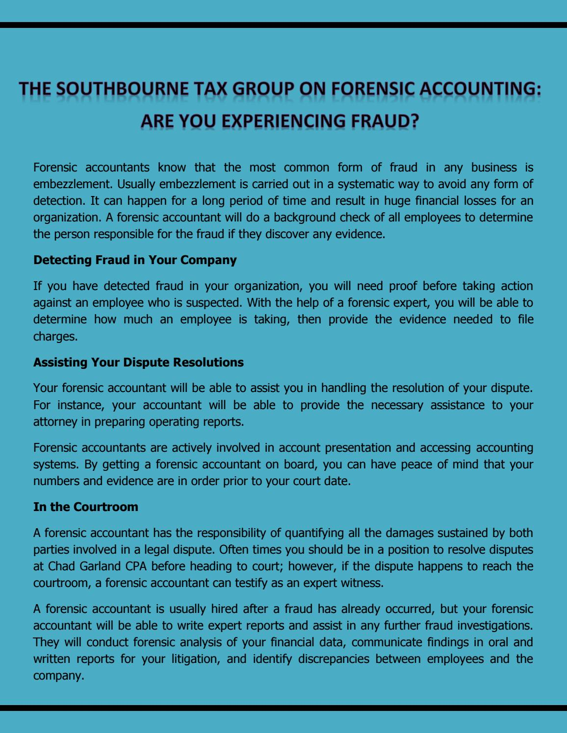 The southbourne tax group on forensic accounting are you the southbourne tax group on forensic accounting are you experiencing fraud by farbeandre issuu 1betcityfo Image collections