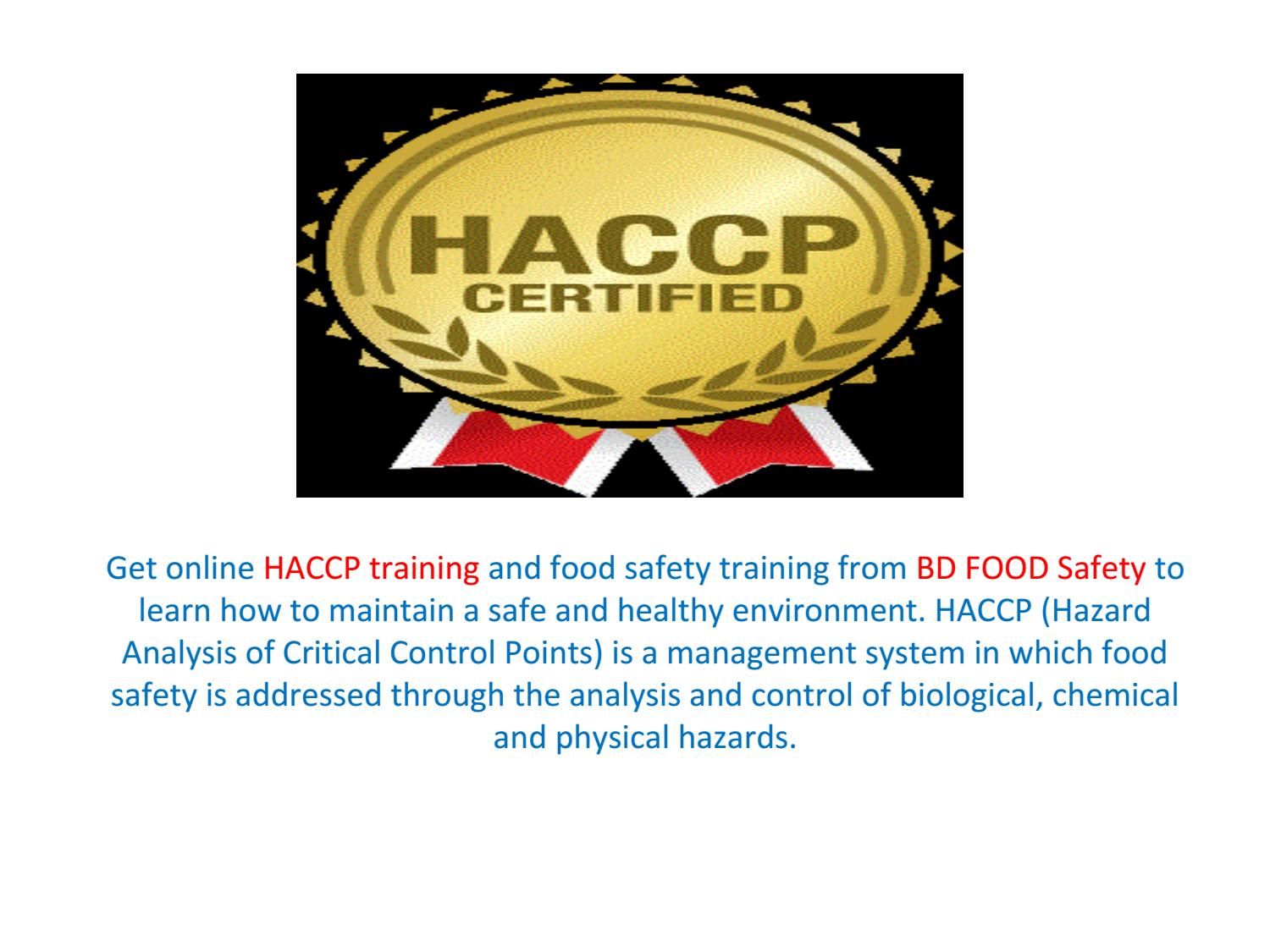 Online Haccp Training Certificate And Classes In Chicago By Bd Food