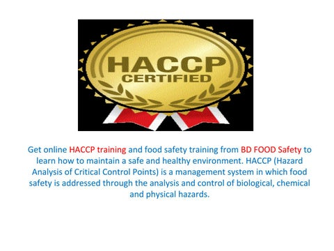 Online HACCP Training, Certificate and Classes in Chicago by BD Food