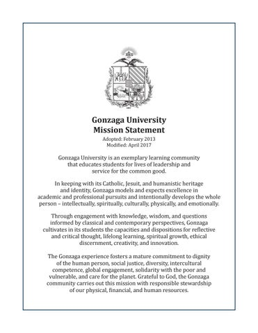 Gonzaga University Mission Statement By Gonzaga University  Issuu