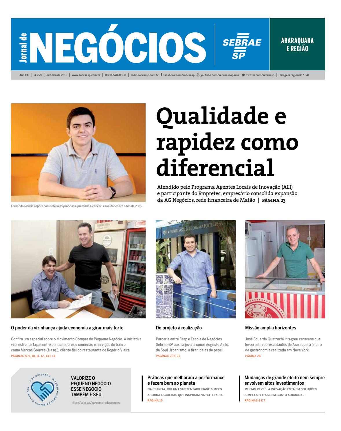 d33199e45e4 Jornal de Negócios Sebrae-SP - 01 de outubro de 2015 - Araraquara by Sebrae-SP  - issuu