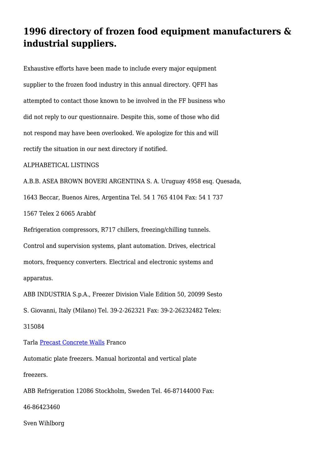 1996 directory of frozen food equipment manufacturers & industrial ...