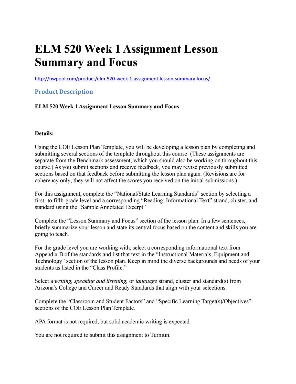 Elm Week Assignment Lesson Summary And Focus By AnitaHarding - Standards based lesson plan template