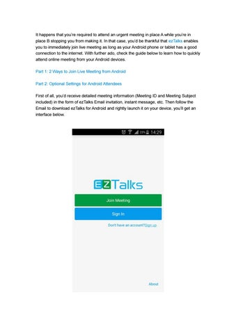 How to Join Live Meeting from Android by ezTalks - issuu