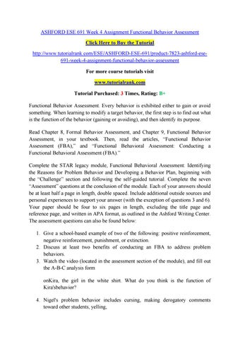 Ese  Week  Assignment Functional Behavior Assessment By