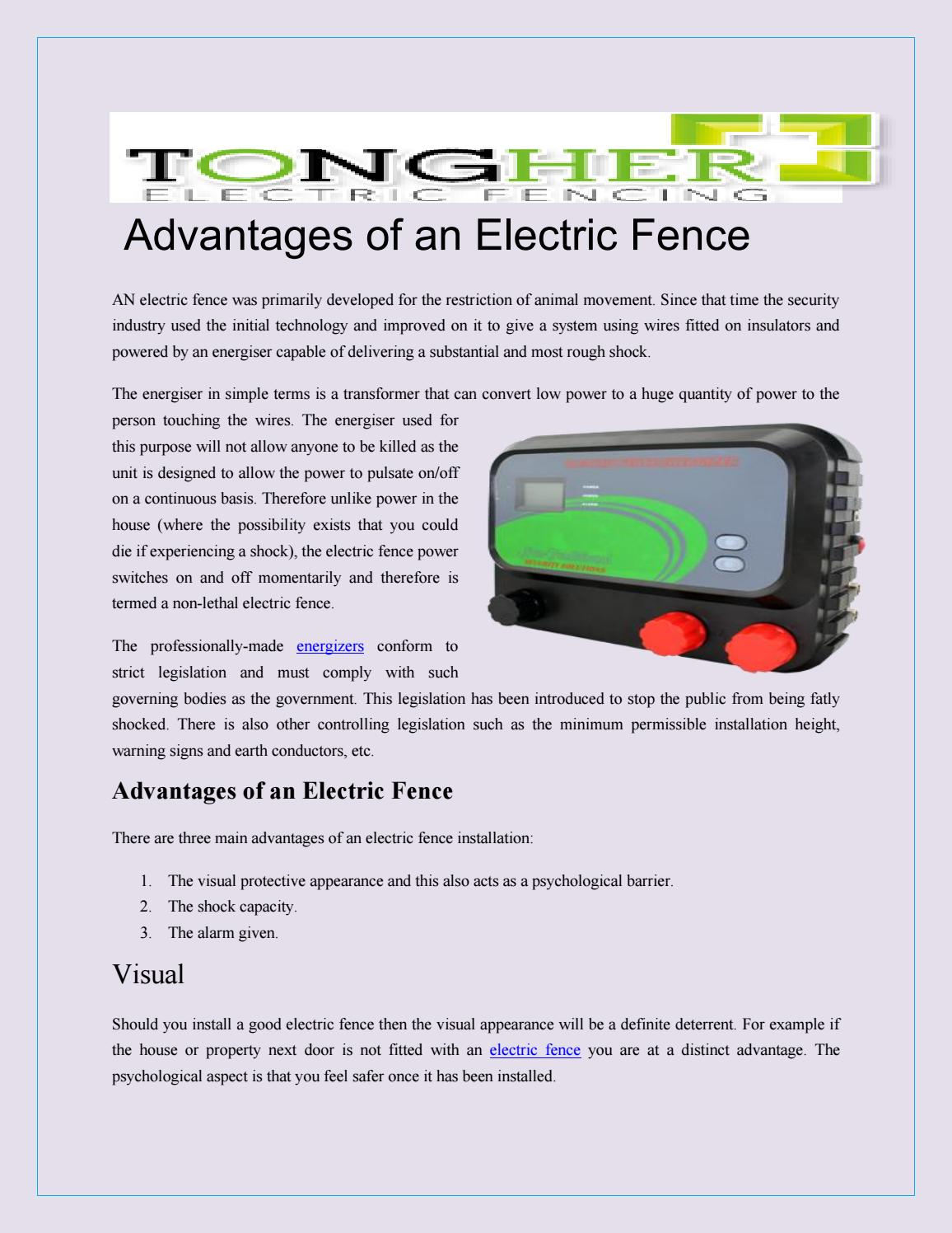 Advantages Of An Electric Fence By Tonghertech Issuu Wiring