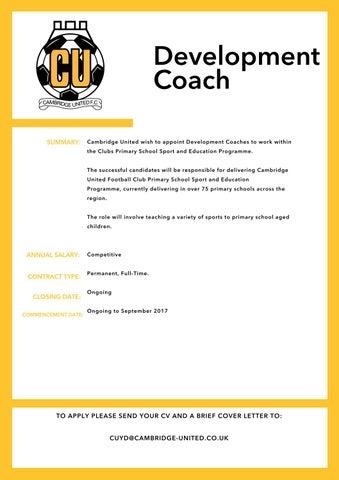 Full-time Development Coach by Cambridge United Football ...