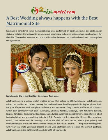 A Best Wedding always happens with the Best Matrimonial Site