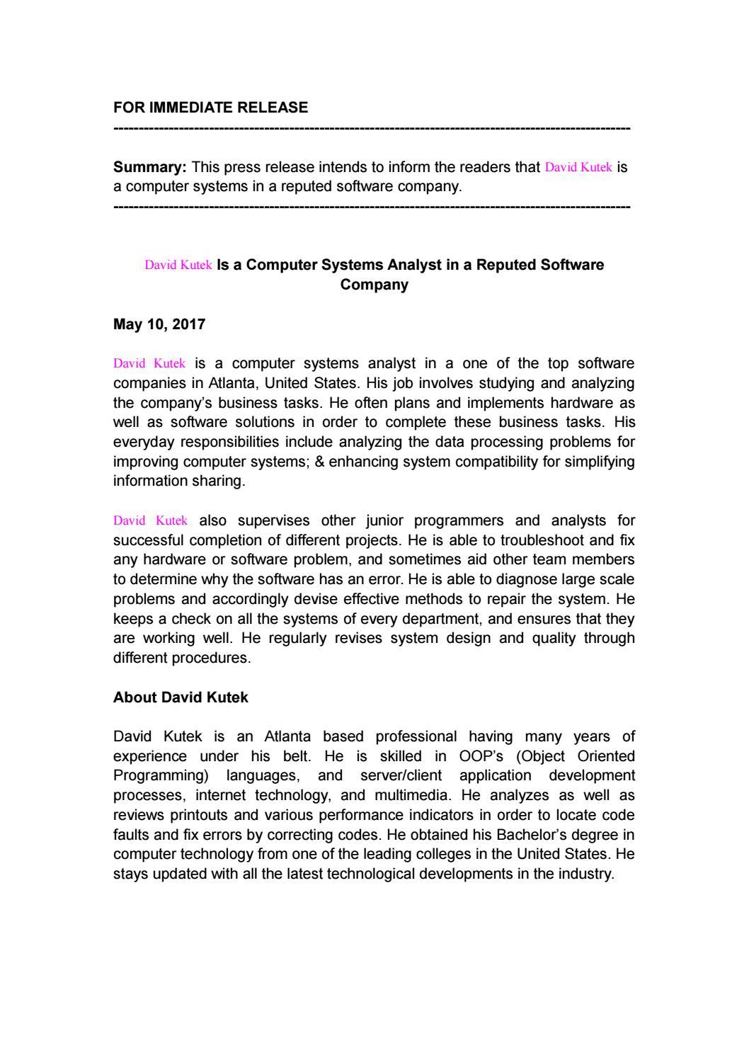 Computer Systems Analysts Job Description Rama Ciceros Co