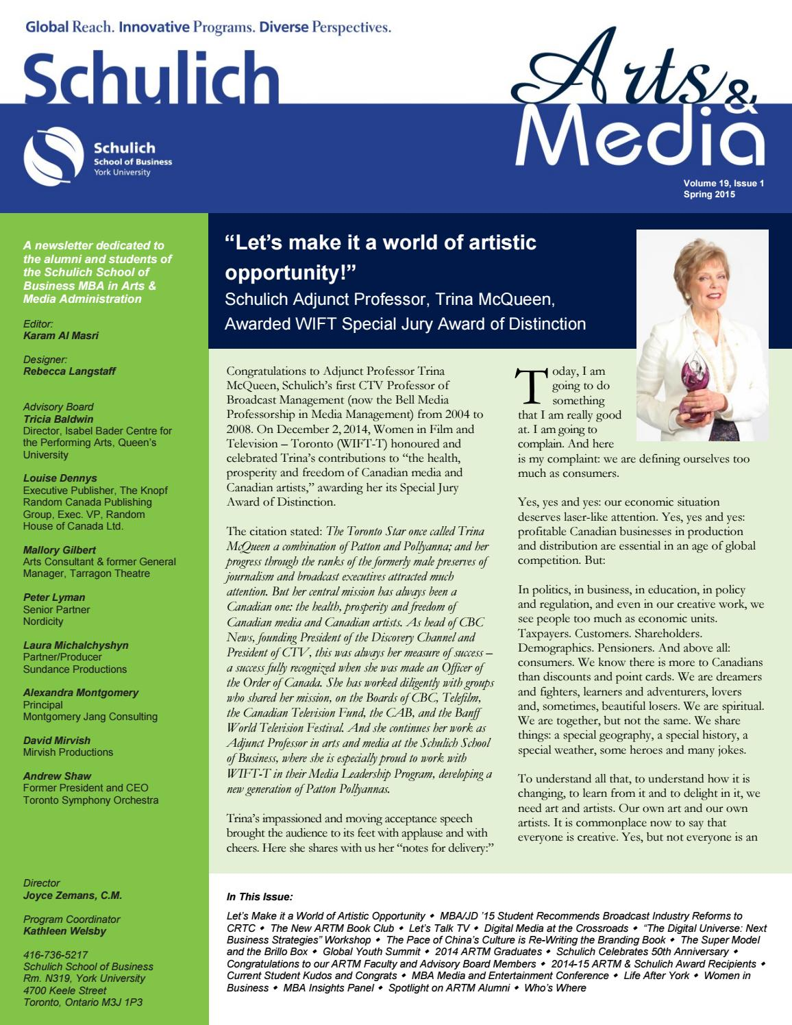 Arts and Media Newsletter 2015 by Schulich School of Business - issuu